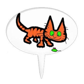 Het oranje Spelen van de Kat van het Kat van de Ti Cake Prikker