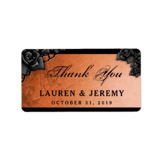 Het oranje & Zwarte Huwelijk van Halloween dankt u Etiket
