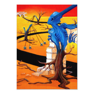 """Het Originele Kunstwerk van de groef """"van de 12,7x17,8 Uitnodiging Kaart"""