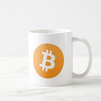 Het originele oranje en witte logo van Bitcoin met Koffiemok