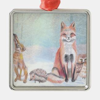 Het ornament die van Kerstmis een vos, egel, hazen