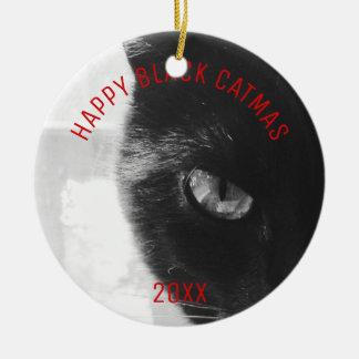 Het Ornament Gelukkige Zwarte Catmas van de foto