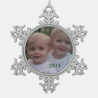 Het Ornament van de Foto van de Vakantie van de Tin Sneeuwvlok Ornament