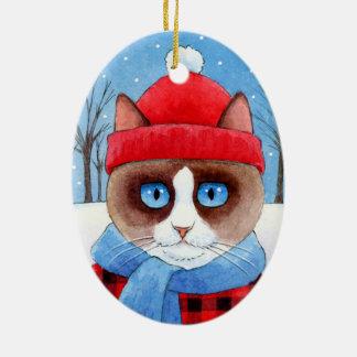 Het ornament van de Kat Snowshow of Ragdoll van