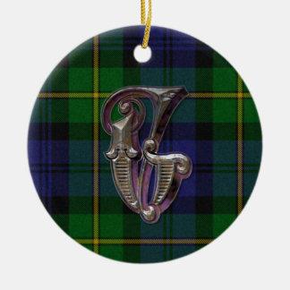 Het ornament van het Monogram van de Plaid van