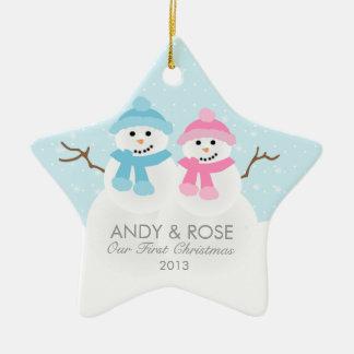 Het Ornament van het Paar van de sneeuwman
