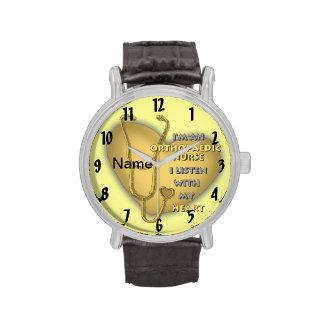 Het orthopedische Gele Hart van de Verpleegster Horloge