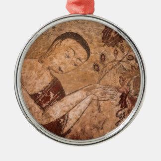 Het oude Boeddhistische Schilderen Zilverkleurig Rond Ornament