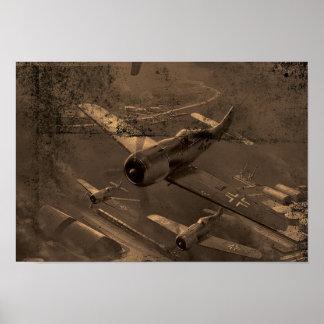 Het oude bruine Stof en de Kras van het Vliegtuig Poster