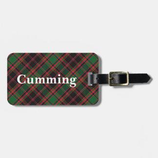 Het oude Geruite Schotse wollen stof van Cumming Kofferlabels