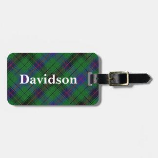 Het oude Geruite Schotse wollen stof van Davidson Kofferlabel