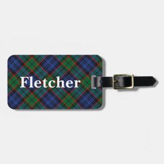Het oude Geruite Schotse wollen stof van Fletcher Bagagelabel