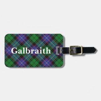 Het oude Geruite Schotse wollen stof van Galbraith Kofferlabel