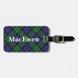 Het oude Geruite Schotse wollen stof van MacEwen Bagagelabel