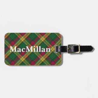 Het oude Geruite Schotse wollen stof van MacMillan Kofferlabel
