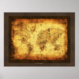 Het Oude (grote) Poster van de Kaart van de Wereld