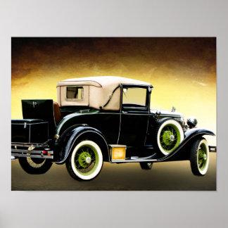 het oude poster van de tijdopnemerauto