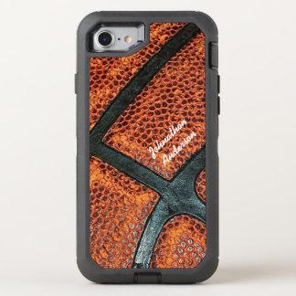 Het oude Retro Patroon van het Basketbal met Naam OtterBox Defender iPhone 7 Hoesje