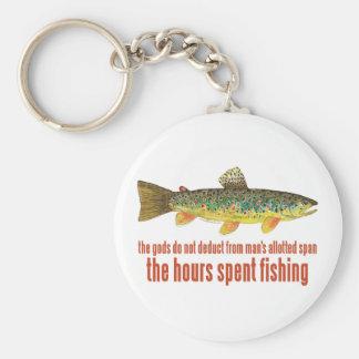Het oude Spreuk van de Visserij Basic Ronde Button Sleutelhanger