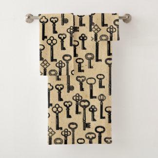 Het oude Vintage Patroon van Sleutels Bad Handdoek