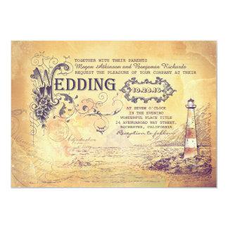 Het oude vintage vuurtoren zeevaarthuwelijk nodigt 12,7x17,8 uitnodiging kaart