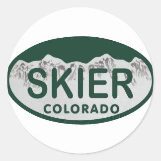 het ovaal van de skiërvergunning ronde sticker
