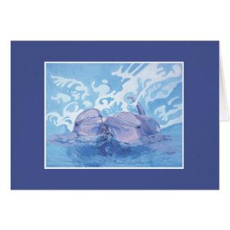 Het paar van de dolfijn het spelen in de oceaan notitiekaart