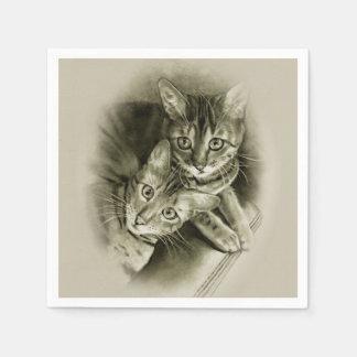 Het Paar van de Kat van Bengalen, de Originele Papieren Servet