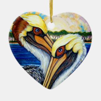 Het Paar van de pelikaan Keramisch Hart Ornament