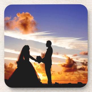 Het Paar van het Huwelijk van de zonsondergang Bier Onderzetter