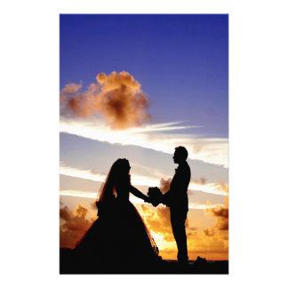 Het Paar van het Huwelijk van de zonsondergang Briefpapier