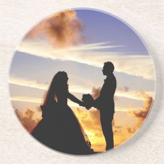 Het Paar van het Huwelijk van de zonsondergang Zandsteen Onderzetter