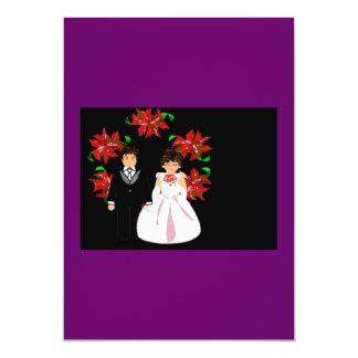 Het Paar van het Huwelijk van Kerstmis met de 12,7x17,8 Uitnodiging Kaart