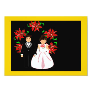 Het Paar van het Huwelijk van Kerstmis met Kroon Custom Uitnodging