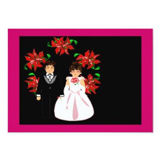 Het Paar van het Huwelijk van Kerstmis met Kroon 12,7x17,8 Uitnodiging Kaart