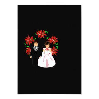Het Paar van het Huwelijk van Kerstmis met Kroon Gepersonaliseerde Uitnodiging