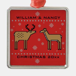 Het Paar van het Rendier van Kerstmis voegt Namen Zilverkleurig Vierkant Ornament