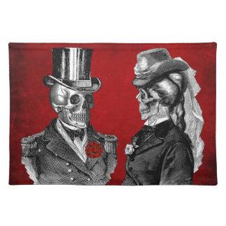 Het Paar van het Skelet van de Schedel van Grunge Placemat