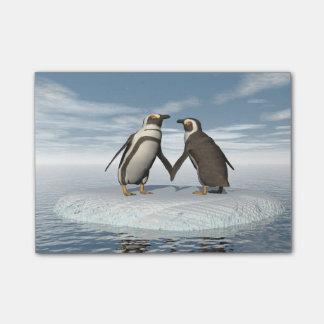 Het paar van pinguïnen post-it® notes