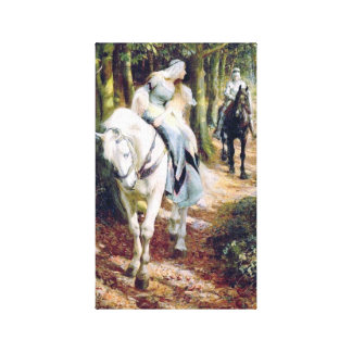 Het paard middeleeuwse ridder van de dame het witt canvas afdruk