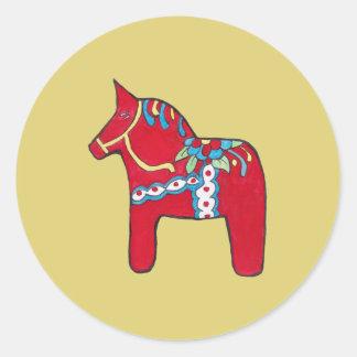 Het Paard van Dala Ronde Sticker
