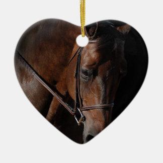 Het Paard van de baai op Zwarte Keramisch Hart Ornament
