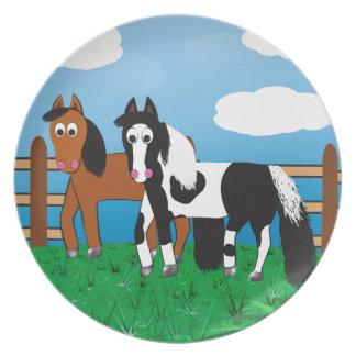 Het paard van de cartoon melamine+bord
