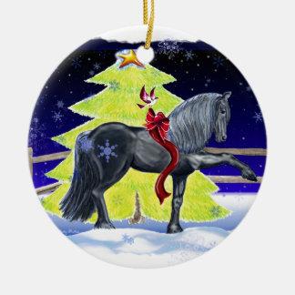 Het Paard van de vakantie Rond Keramisch Ornament
