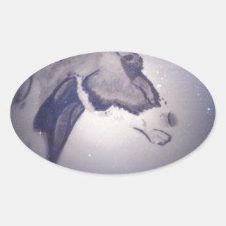 Het Paard van de winter Ovaalvormige Stickers