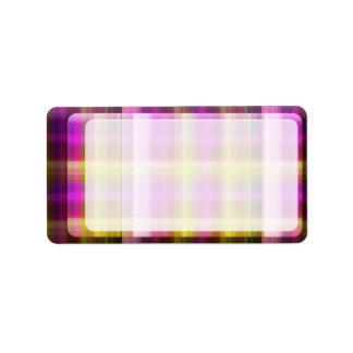 Het paarse Adresetiket van de Plaid Etiket