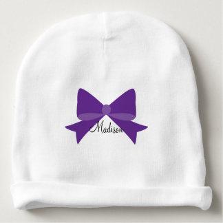 Het paarse Baby Beanie van het Monogram van de Baby Mutsje