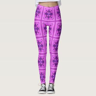 Het paarse Bloemen en Patroon van de Caleidoscoop Leggings
