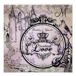 Het paarse Bloemen Onvoorwaardelijke Huwelijk van 13,3x13,3 Vierkante Uitnodiging Kaart