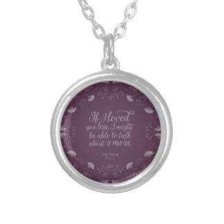Het paarse BloemenCitaat Emma Book Jane Austen van Zilver Vergulden Ketting